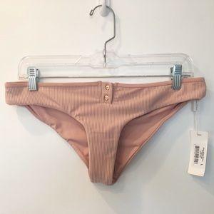 Pink ribbed bikini bottoms